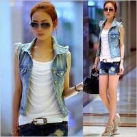 Free ship  fashion CUTE casual  collar special rivet sleeveless light blue denim vest jean jacket jeans women coat.TB-35