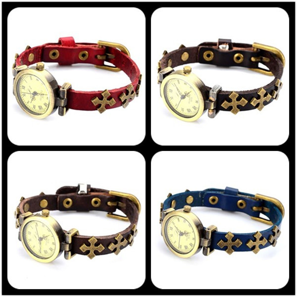 New fashion Leather Bracelet Watch handmade cow leather watch with cross bronze Hot Popular Style Cross Female Watch(China (Mainland))