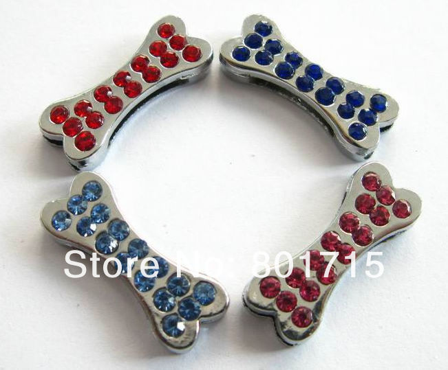 Stocked 8mm 50pcs Dog Bone DIY Accessories slide Charms zinc alloy and colorful rhinestone Fit Pet Collars wristbands key chain(China (Mainland))