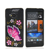BUTTERFLY BLING RHINESTONE CRYSTAL HARD BACK CASE COVER FOR HTC ONE M7 FREE SHIPPING