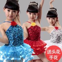 Fashion Nice Child dance dress paillette female child skirts paillette leotard costume blue red Wholesale+retail+free shipping