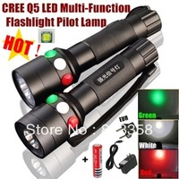 XH-97 CREE Q5 LED signal light Green White Red LED Flashlight Torch Bright light signal lamp + 1x18650 Battery / Charger