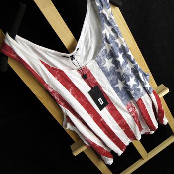 Hot sell 2013 summer us flag denim vest   fashion basic shirt sleeveless shirt women's