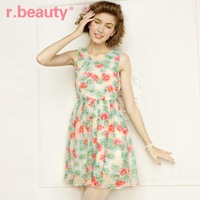 Free Shipping 2013 Flower Vintage Mini Dress Koran Style Top Dresses for Women Sarafan Chiffon Colourful Casual Maxi Skirt