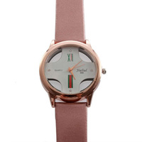 New Leather Fashion Men Round Quartz Wrist Watch