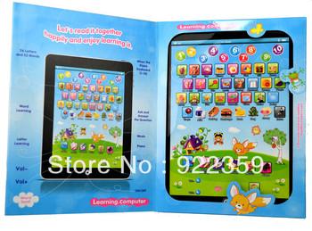 10 pcs/Lot  Wholesale English Language White / Pink / Blue Ipad Laptop Computer Learning Machine Kids table Toys New Arrival