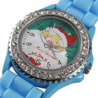 Christmas Santa Clause Watch Silicone Band+Rhinestones