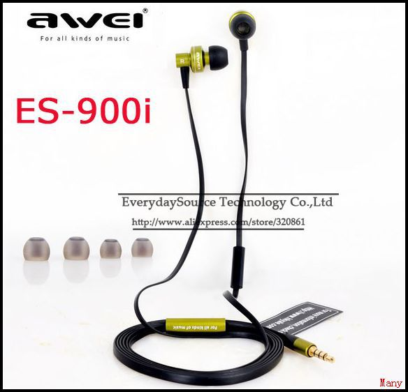 5PCS/lot Super Bass Headphone awei-es900i Earphone Headset for Smartphone 3.5mm Earbuds low price Hot sales(China (Mainland))