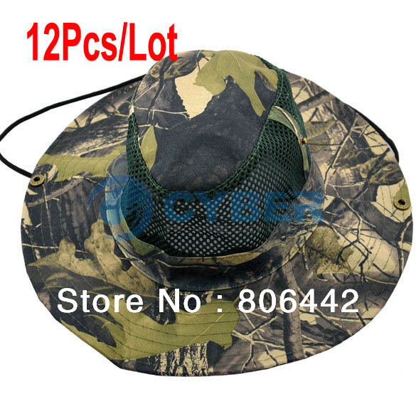 Wholesale 12Pcs/Lot Summer Bucket Hat Unisex Outdoor Maple Leaf Army Jungle Camouflage Cap Prevented Bask Sun Fishing Hat 13879(China (Mainland))