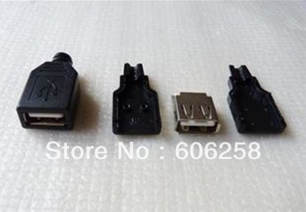 DIY Type A Female USB 4 Pin Plug Socket Connector&Plastic Cover 100pcs(China (Mainland))