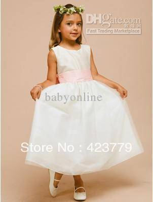 2013 Lovely Flower Girl Jewel Bow Ruffles A-Line Ankle-Length Girl's Pageant Dresses Flower Gown(China (Mainland))