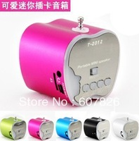 10 Piece Free Shipping T-2012 Music Mini MP3 Speaker MP3 Player Support USB Micro SD Card FM Speaker 3 In One