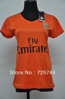 New arrival 13/14 real madrid away orange women girls soccer football jersey, thai quality woman soccer football uniforms