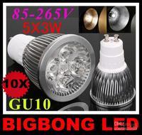 2014 HOT SALE 1pcs retail  led lamp 5x3W 15W GU10 85-265V Led Lights led Spotlight LED Bulbs Downlight