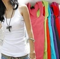 2014 Free Shipping Summer hot-selling woven cotton rib knitting women's tank Tops long design p871 of