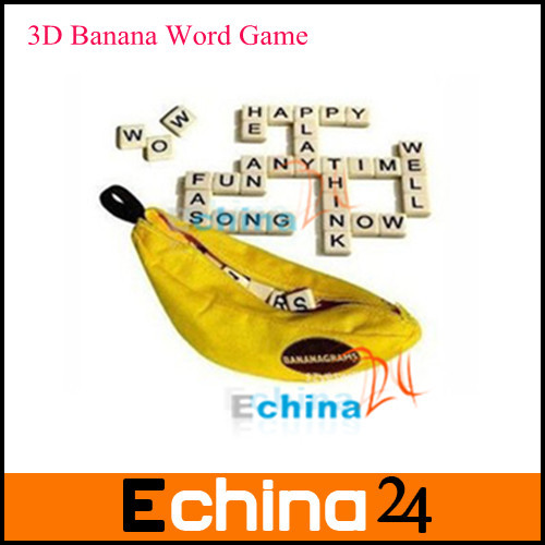 Wholesale Fashion Banana Scrabble Puzzle 3D Educational Puzzle Toys Banana Anagram Game for Kids and Adults Free Shipping(China (Mainland))