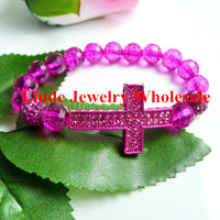 Free Shipping! Wholesale cross bracelet with 2pc 10mm shamballa beads, fuchsia colour 5003 disco ball beads 5pcs/lot ATR0044