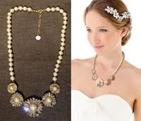 Min $10 Fashion manmade-pearl rhinestone sun flower luxurious necklace free shipping