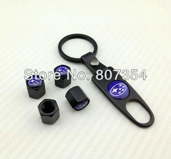 free shipping,Excellent Subaru 4pcs Car Wheel Airtight Tyre Tire Stem Air Valve Caps / tire valve caps+1pcs key chain for Subaru