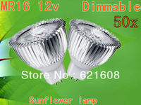 50X High power MR16/GU10/GU5.3 9W AC/DC12V power led sunflower bulb led lamp Warm/cool/pure white Real CREE Free shipping