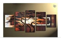 hand-painted wall art tree Sunshine red sun mountain wall decoration abstract Landscape oil painting canva 5pcs/set