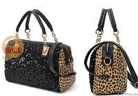 Wholesale 24pcs/lot hot selling 2013 new fashion PU paillettes leopard print Shoulder Messenger Women handbag (50 off EMS)