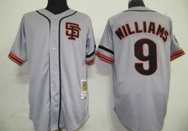 wholesale 2013 usa San Francisco Giants 9 Williams Grey M&N baseball Jersey,Size 48,50,52,54,56 mix order,Free Shipping(China (Mainland))
