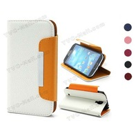 Fashion Lychee Grain Wallet Leather Stand Case for Samsung Galaxy S4 IV i9500 i9505 Free Shipping 6Colors To Choose