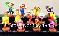 Super Mario Bros Luigi Action Figures Xmas Gift Super mario High Quality PVC (1set=13pcs) 50sets/lot
