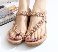2013 toe-knob sandals shoes pinch flat shoes flat with the shoe Bohemian flower beaded soft bottom