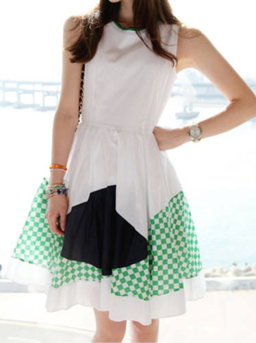 2013 women's design long tank dress loose white chiffon one-piece dress(China (Mainland))