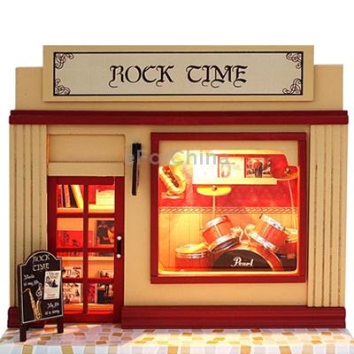 Beautiful and Creative Rock Style DIY European Shop Mini House European Miniature Shop DIY Mini House with Light(China (Mainland))