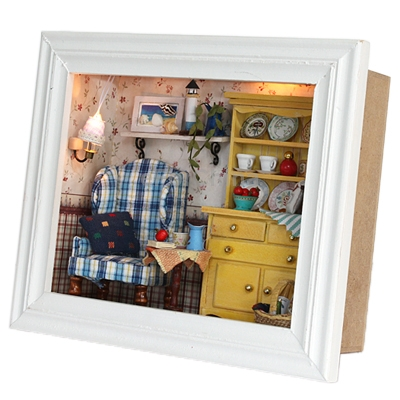 3D Wood Frame LED Light Summer Afternoon Style DIY Creative Room Dollhouse Lovely Toy House Miniatures Kit Gift(China (Mainland))