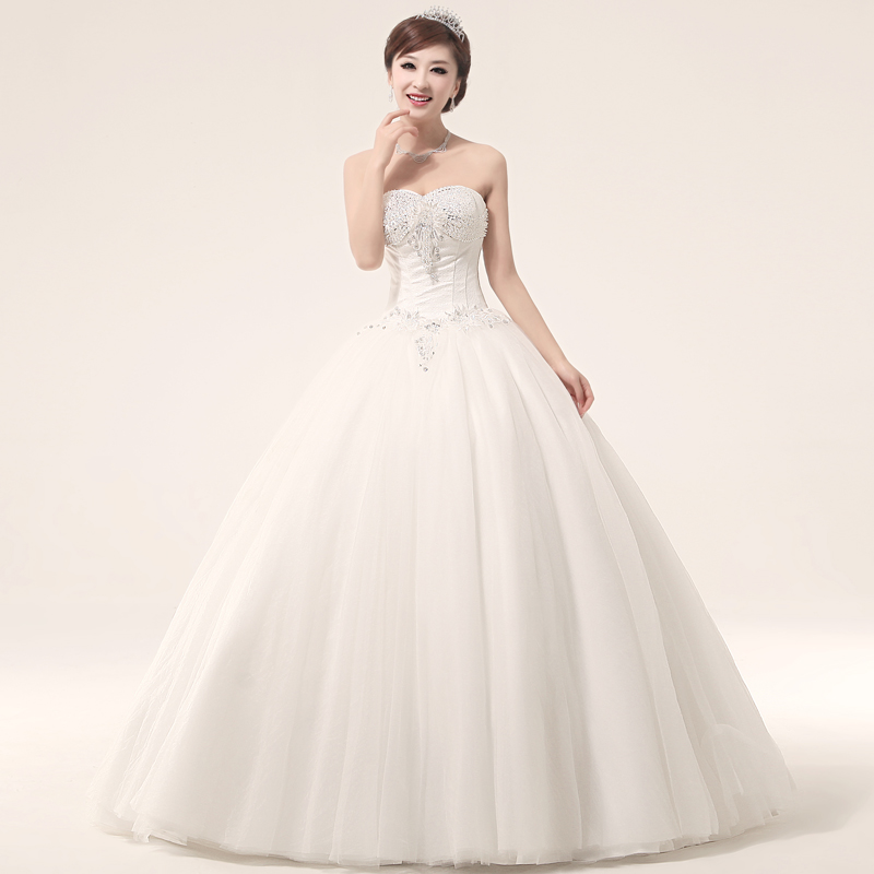 Love summer 2013 of luxury princess wedding dress tube top handmade beading fluffy wedding dress(China (Mainland))