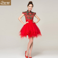 fashion new dress cheongsam 2013 vintage evening dress the bride red short design puff skirt