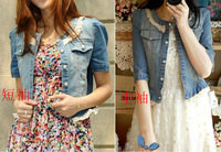 2013 Women's Lace Decoration Pearl Button Short-sleeve Denim Short Jacket DesignTtop Outwear Free shipping.