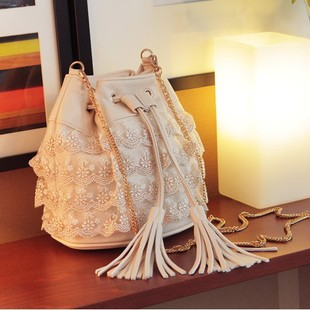 New 2013 fashion handbags Women's  lace bags  chain bucket  shoulder bag small messenger bag  free shipping