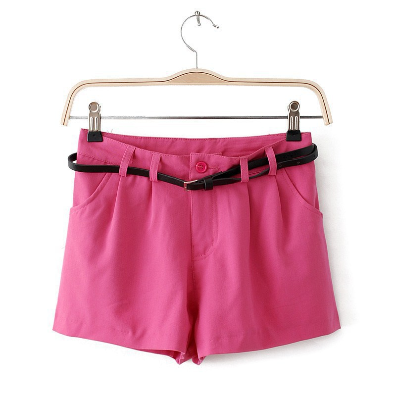 New Fashion Style Candy Color Cotton Soft Shorts,Women's Fit All Hot Shorts Pants with Waist Belt, 3 Size,4 Color(China (Mainland))