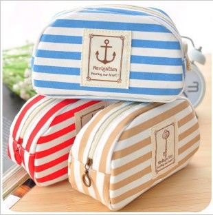 Free shipping,New Arrival Canvas Stripe Cosmetic Case Make Up Pouch Multy Function Storage Bags(China (Mainland))