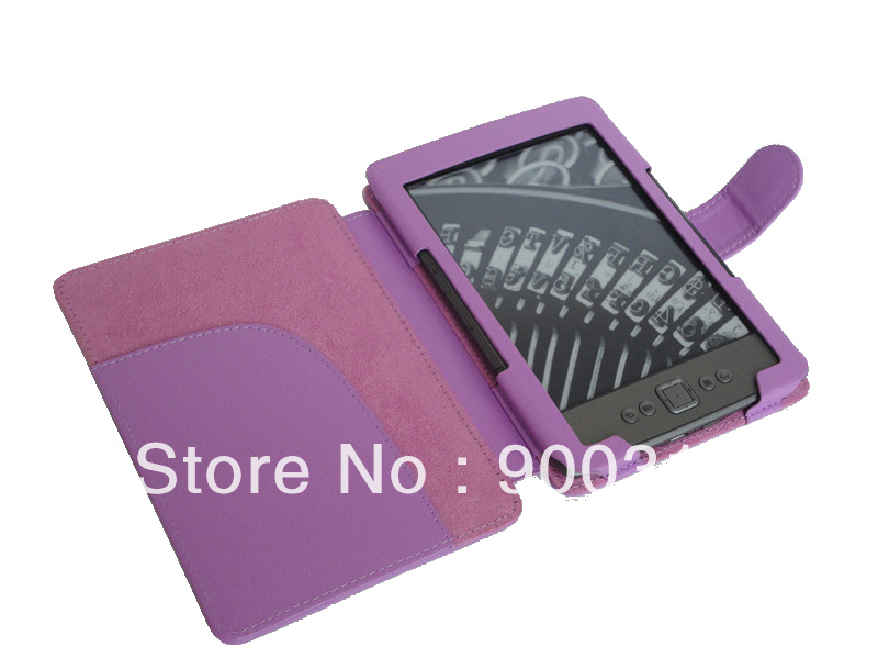 New arrival PU lichi wallet leather cover skin for Amazon kindle 4/5 free shipping 150pcs/lot(China (Mainland))