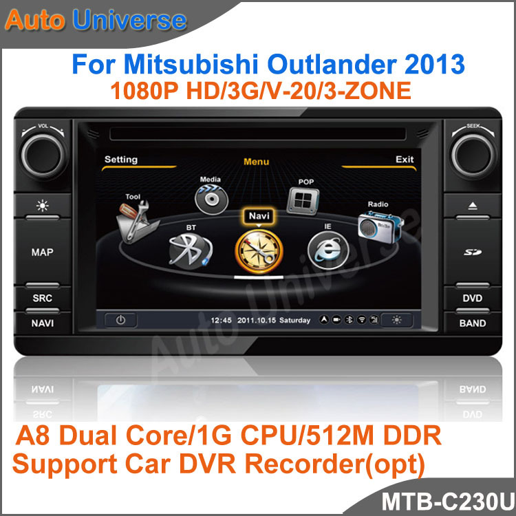 "6.2""Car dvd gps player for Mitsubishi outlander 2013 with 1G CPU 1080P 3G Host HD S100 screen audio video player Free shipping(China (Mainland))"