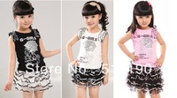 2013 New Cute Girl Suit 2 Pcs  Vest T Shirt+Dress Child Girls Suit   Free Shipping