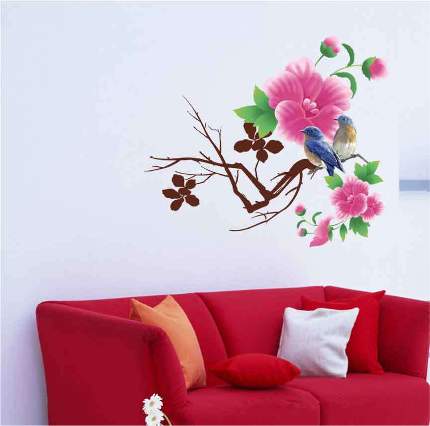 Free shiping home decor wall sticker 50*70 cm pvc removable Spring birds and fragrant for cabinet/room/glass/bathroom(China (Mainland))