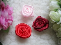 Mix 2.5cm DIY garment accessories wine red decorative lace flower, rose ribbon artificial flowers, wedding packing silk flower