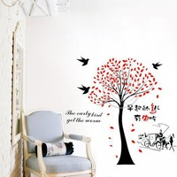 Free shiping ratail removable early birds and tree wall sticker 60*90 cm large wall sticker for living room/bedroom