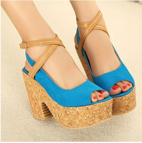 Duomaomao u.s. shoe hot-selling beautiful temptation velvet cross straps wedges coarse soft surface open toe sandals(China (Mainland))