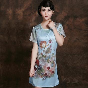 Sleepwear female plus size silk nightgown short-sleeve sexy sleepwear one piece lounge