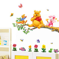 Free Shipping 2pcs/set (AB) wall stickers wall decal for living room bedroom white background teddy bear in tree kangaroo pig