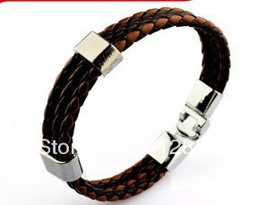 Stainless Steel Men's Bracelet bangle silver with rope