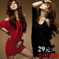 2013 spring one-piece dress sexy slim hip batwing shirt spaghetti strap plus size one-piece dress